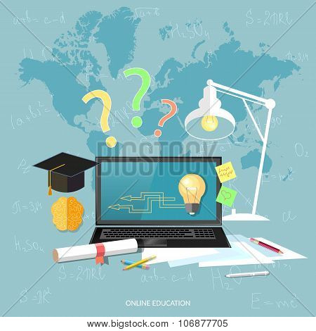 Online Education And E-learning Concept Laptop Student Learning Over The Internet Vector