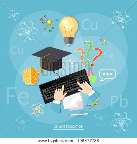 Online Education Students Computer Learn Chemistry Lesson Chemical Elements Vector Concept