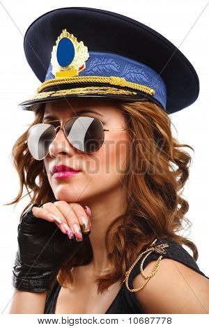 Sexy Police Officer Woman With Sunglasses