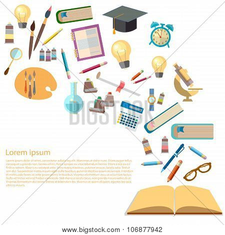 Open Book And Icons Of Education Concept Power Of Knowledge Effective Education Back To School Vect