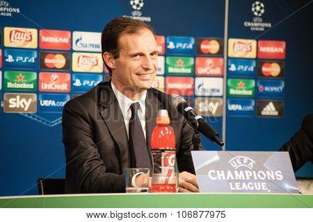 Monchengladbach, GERMANY - 2nd NOVEMBER, 2015: Massimiliano Allegri at press conference ahead of UEFA Champions League group match Borussia Monchengladbach vs. Juventus FC.