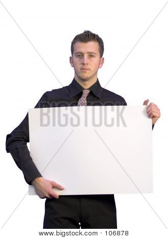 Business Man Holding A White Card