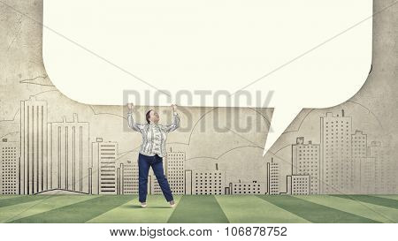 Stout woman of middle age with blank white speech banner