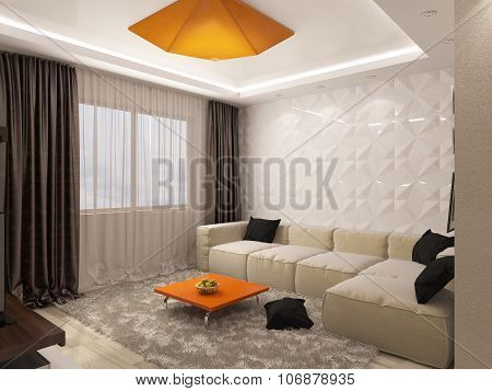 3D Rendering Of A Living Room And Kitchen In Beige Tones