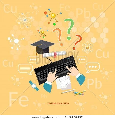 Online Education Distance Learning Learn Chemistry Lesson Students Computer Chemical Elements Vector