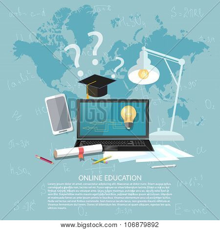 Online Education Concept E-learning Student Learning Internet Concept Laptop Vector Illustration