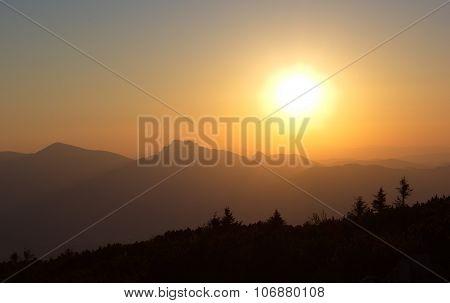 sunset over the Mala Fatra mountains, Slovakia