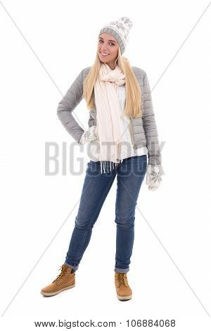 Full Length Portrait Of Cute Beautiful Woman In Winter Clothes Isolated On White