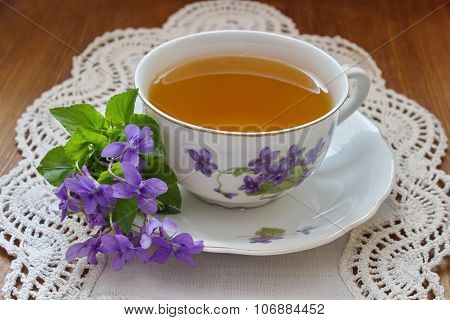 china tea cup with violets