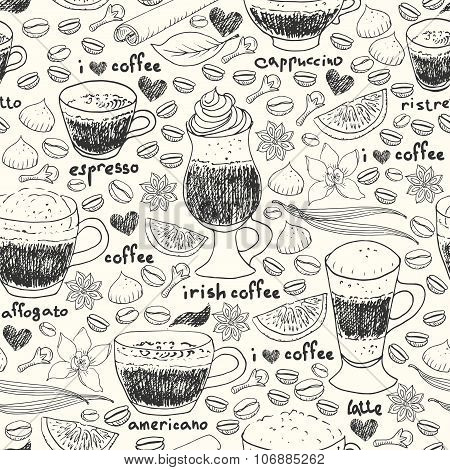 Hand Drawn Doodle Coffee Seamless Pattern