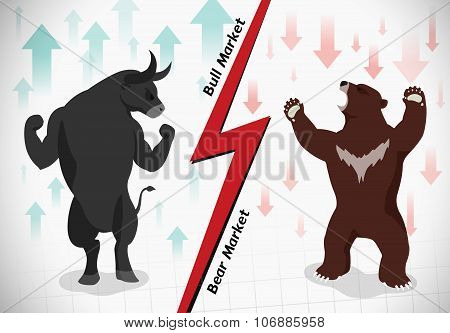 Stock Market Concept Bull And Bear are facing and fighting