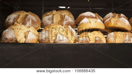 Loaves Displayed On Bakery Shop