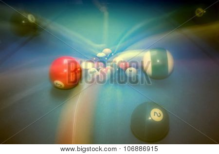 Billiard table vintage background, playing game in night club, slow motion technique, soft focus effect, hobby and sport concept