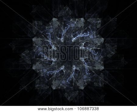 Lacy colorful clockwork pattern, digital fractal art design