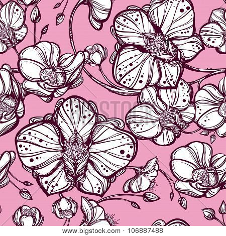Orchid flowers seamless pattern.