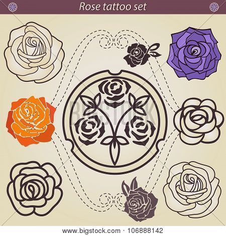 Rose tattoo floral silhouette set, element for design