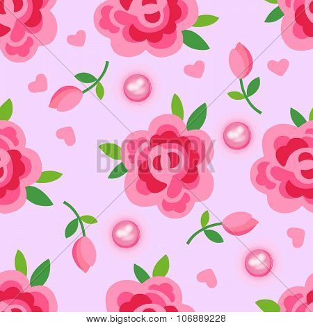Pink roses & pearls seamless background