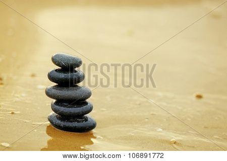 Pebbles on seashore