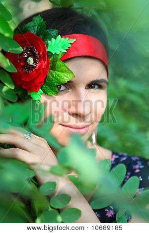 Girl in foliage