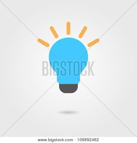 blue bulb icon with shadow