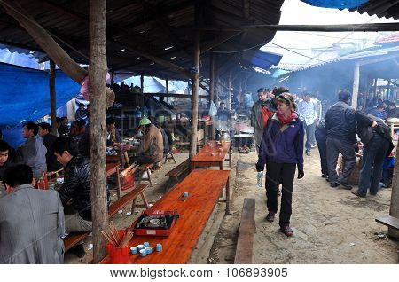 Local People Eating The Lunch In Bac Ha Market, Vietnam
