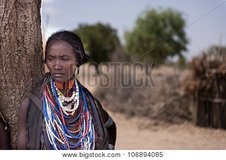 Portrait Of A Beautiful Woman From Arbore Tribe, Omo Valley