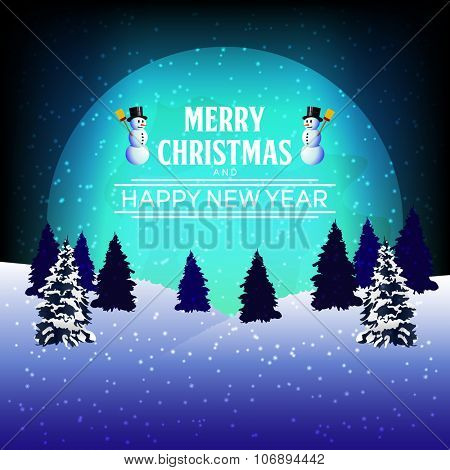 Full moon at winter night with Merry Christmas and Happy New Year text