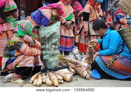 Vietnamese People Wearing Traditional Costume In Bac Ha Market, Vietnam