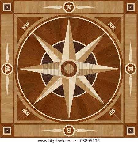 Medallion Design Parquet Floor, Compass Rose