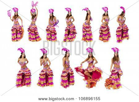 Beautiful carnival dancer, isolated on white background