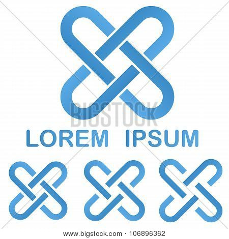 Blue clip logo design template set