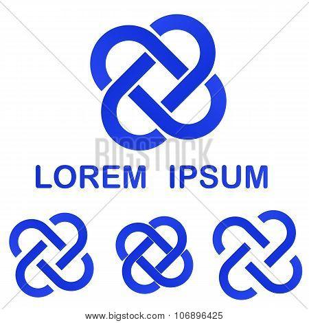 Blue curved line logo design set