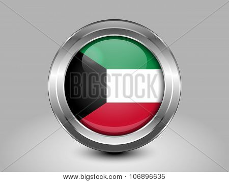 Flag Of Kuwait. Metal Round Icon
