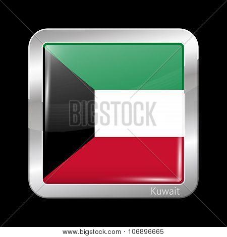 Flag Of Kuwait. Metallic Icon Square Shape