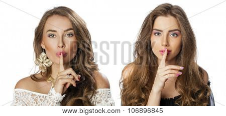 Portrait of attractive girl with finger on lips, isolated over white background concept of student show quiet, silence, secret gesture, young pretty brunette woman