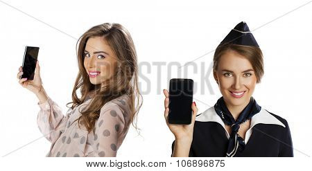 Beautiful young stewardess calling by phone isolated on white background