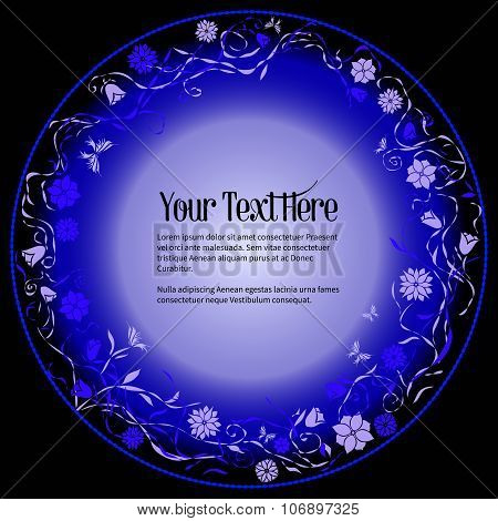 Round Frame For Text With Elegant Abstract Floral Motif