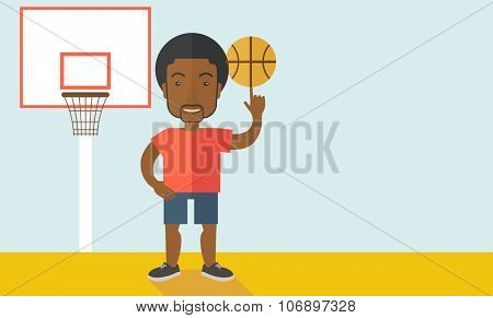 An african-american professional basketball player spinning ball on his finger vector flat design illustration. Horizontal layout with a text space for a social media post.
