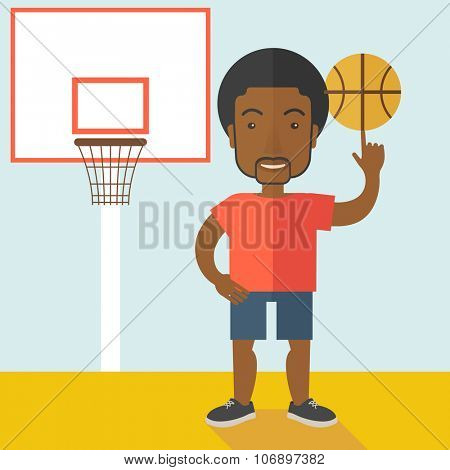 An african-american professional basketball player spinning ball on his finger vector flat design illustration. Square layout.