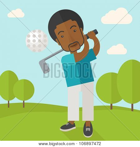 A african-american golf player hitting the ball in the field vector flat design illustration. Square layout.