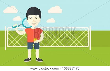 An asian big tennis player holding a tennis racket and a ball while standing on tennis court vector flat design illustration.  Horizontal layout with a text space for a social media post.