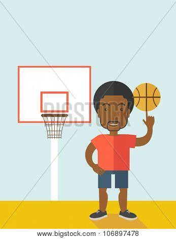 An african-american professional basketball player spinning ball on his finger vector flat design illustration. Vertical poster layout with a text space.