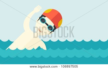 An asian swimmer wearing cap and glasses training in water vector flat design illustration. Horizontal layout with a text space for a social media post.