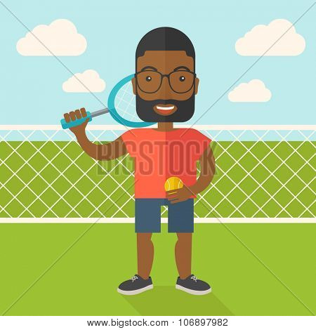 An african-american big tennis player holding a tennis racket and a ball while standing on tennis court vector flat design illustration. Square layout.