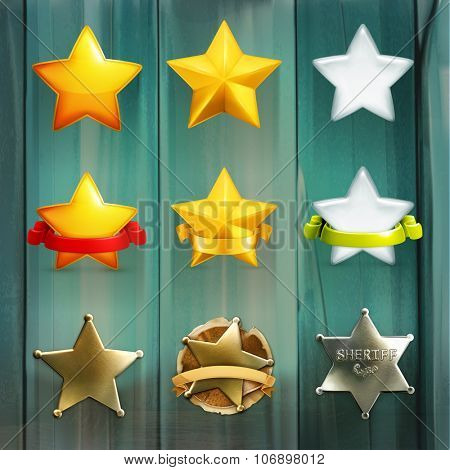 Stars set, vector icon on wooden board