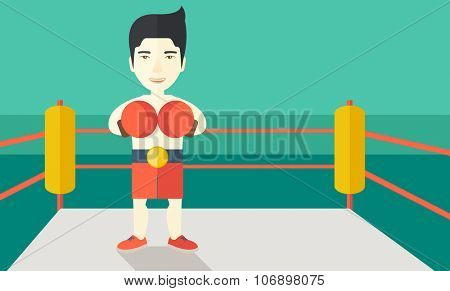 Single an asian boxer in gloves standing in the ring vector flat design illustration. Horizontal layout with a text space for a social media post.