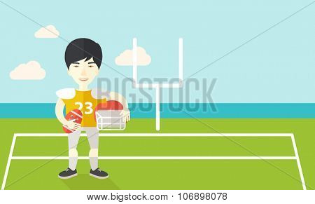 An asian rugby player with ball and helmet in hands standing on the stadium vector flat design illustration. Horizontal layout with a text space for a social media post.