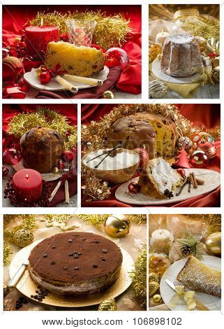 collage of christmas traditional dessert
