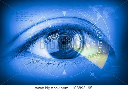 Close Up Women Eye Scanning Technology In The Futuristic.