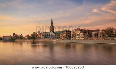 Wroclaw Tumski Island vivid sunset